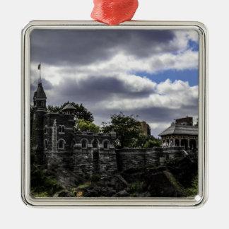 Belvedere Castle in Central Park, New York Silver-Colored Square Ornament