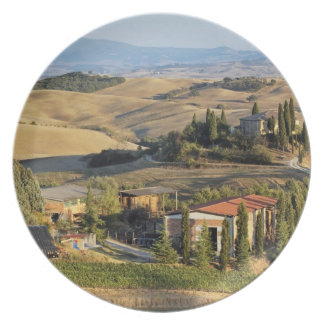 Belvedere House at sunset, San Quirico d'Orcia Plate