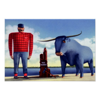 Bemidji Minnesota Paul Bunyan and Babe Poster