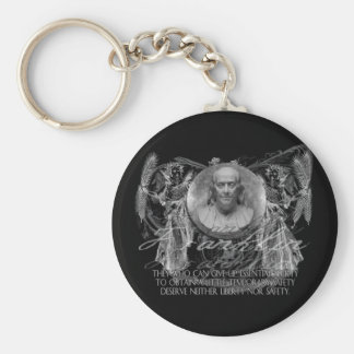 Ben Franklin, a Hero, on Liberty & Security Basic Round Button Keychain