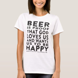 Ben Franklin Beer Quote - Dark Design T-Shirt
