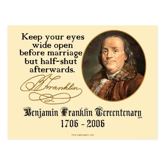 Ben Franklin - Marriage Postcard