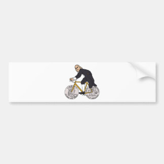 Ben Franklin On A Bike With Half Dollar Wheels Bumper Sticker