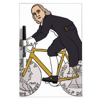 Ben Franklin On A Bike With Half Dollar Wheels Dry Erase Board