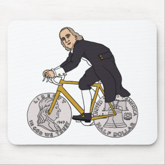 Ben Franklin On A Bike With Half Dollar Wheels Mouse Pad