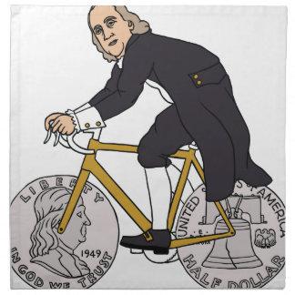 Ben Franklin On A Bike With Half Dollar Wheels Napkin