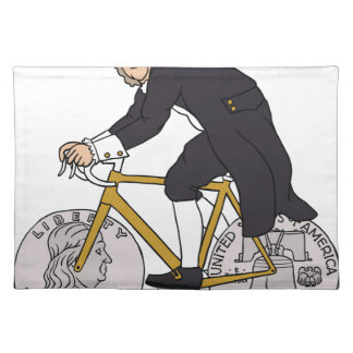 Ben Franklin On A Bike With Half Dollar Wheels Placemat