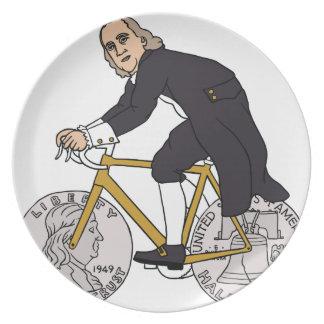 Ben Franklin On A Bike With Half Dollar Wheels Plate