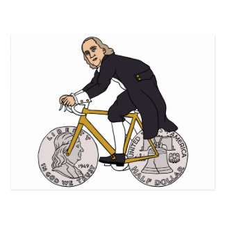 Ben Franklin On A Bike With Half Dollar Wheels Postcard