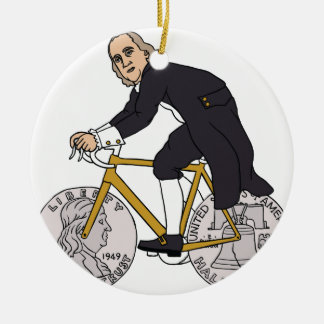 Ben Franklin On A Bike With Half Dollar Wheels Round Ceramic Ornament
