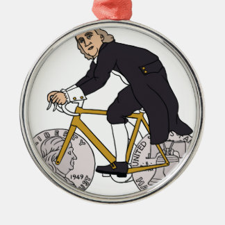 Ben Franklin On A Bike With Half Dollar Wheels Silver-Colored Round Ornament