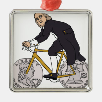 Ben Franklin On A Bike With Half Dollar Wheels Silver-Colored Square Ornament