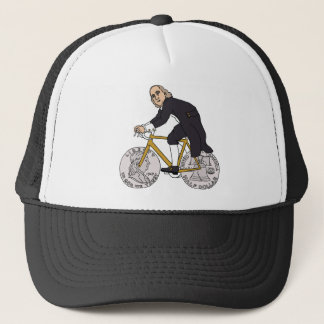 Ben Franklin On A Bike With Half Dollar Wheels Trucker Hat