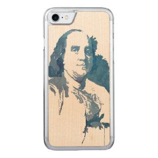 Ben Franklin Pop Art Portrait in Blue Carved iPhone 7 Case