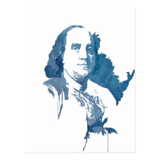 Ben Franklin Pop Art Portrait in Blue Postcard