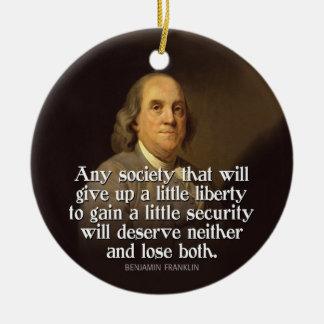 Ben Franklin Quote Ceramic Ornament