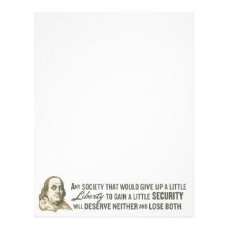 Ben Franklin Quote Letterhead
