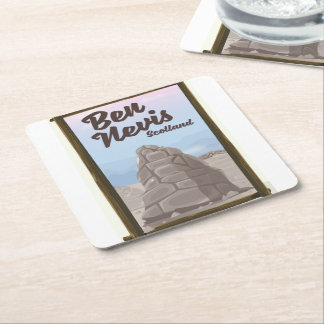 Ben Nevis Scotland travel poster Square Paper Coaster