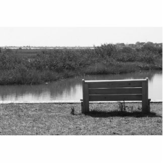 Bench by river black and white picture photo cutout