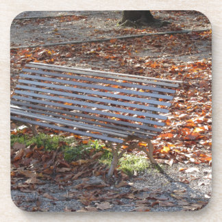 Bench in autumn park with dead leaves coaster