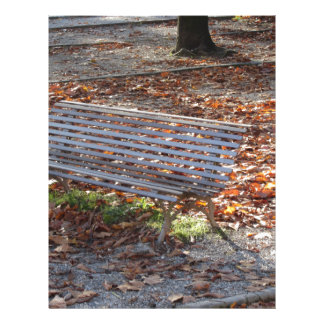 Bench in autumn park with dead leaves custom letterhead