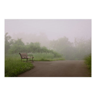 Bench in Fog Poster