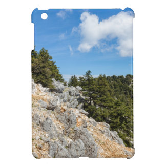 Bench on rocky mountain with trees and blue sky iPad mini covers