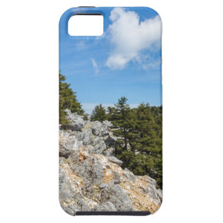 Bench on rocky mountain with trees and blue sky iPhone 5 cover