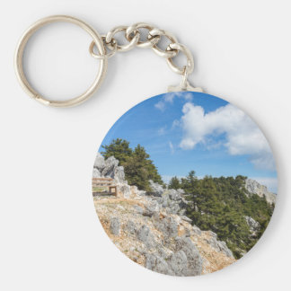 Bench on rocky mountain with trees and blue sky keychain