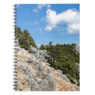 Bench on rocky mountain with trees and blue sky spiral notebook