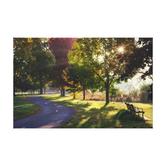 "Bench & Sunbeams 17x11  .75"" Canvas Print"