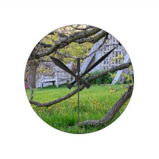 Bench Through The Trees Round Clock
