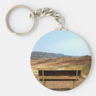 Bench View at Painted Hills Overlook Oregon Keychain