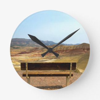 Bench View at Painted Hills Overlook Oregon Round Clock