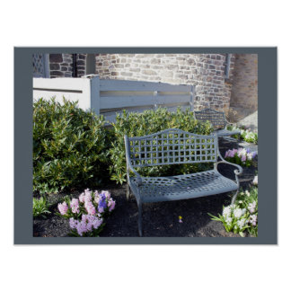 Bench with Flowers Poster