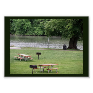 Benches by the River Poster