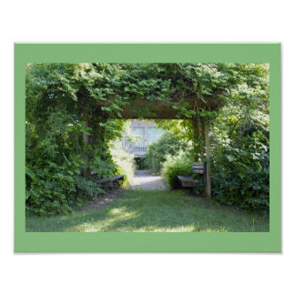 Benches with Greenery Poster