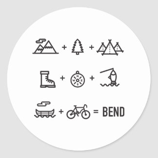 Bend Oregon Activities Equation Logo Round Sticker