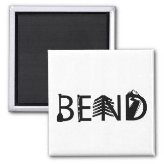Bend Oregon Activity Letters Button Square Magnet