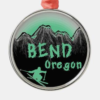 Bend Oregon artistic skier Silver-Colored Round Ornament