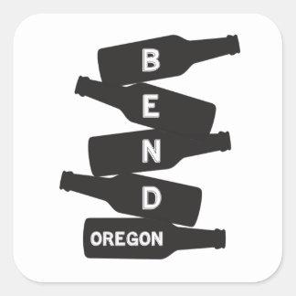 Bend Oregon Beer Bottle Stack Logo Square Sticker