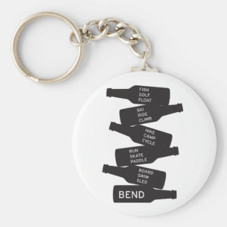 Bend Oregon Beer Bottle Stacked Outdoor Activities Basic Round Button Keychain