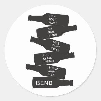 Bend Oregon Beer Bottle Stacked Outdoor Activities Classic Round Sticker
