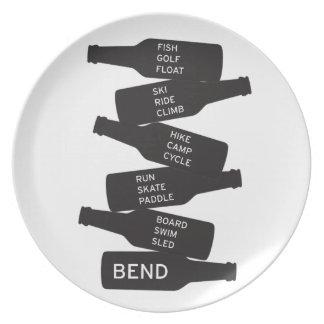 Bend Oregon Beer Bottle Stacked Outdoor Activities Plate