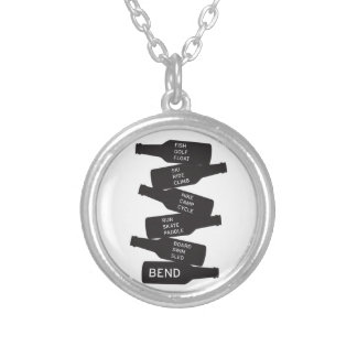 Bend Oregon Beer Bottle Stacked Outdoor Activities Silver Plated Necklace