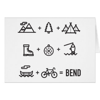 Bend Oregon Outdoor Activities Equation Card