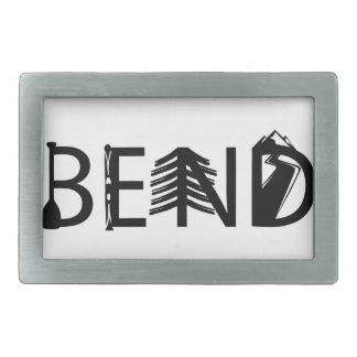 Bend Oregon Outdoor Activity Letters Logo Rectangular Belt Buckle