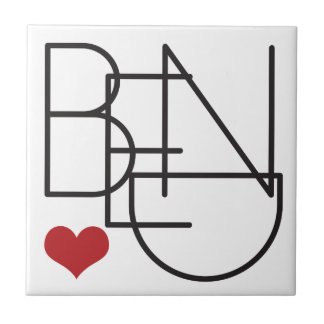 Bend Oregon Word Heart Logo Ceramic Tile