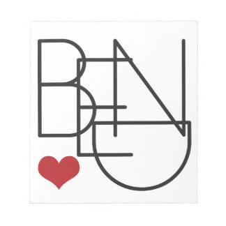 Bend Oregon Word Heart Logo Notepad