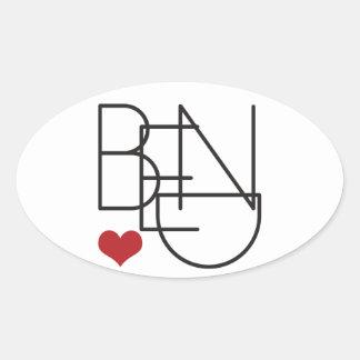 Bend Oregon Word Heart Logo Oval Sticker